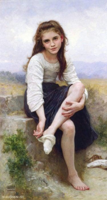 Emma Watson pintada como un autorretrato de William Adolphe Bouguereau