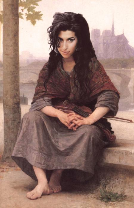 Amy Winehouse pintada como una violinista pueblerina