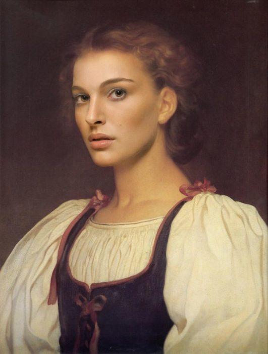 Natalie portman pintada como Biondina de Lord Frederick Leighton de 1879