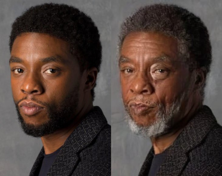 Famosos con filtro que hace viejo; Chadwick Boseman antes y después