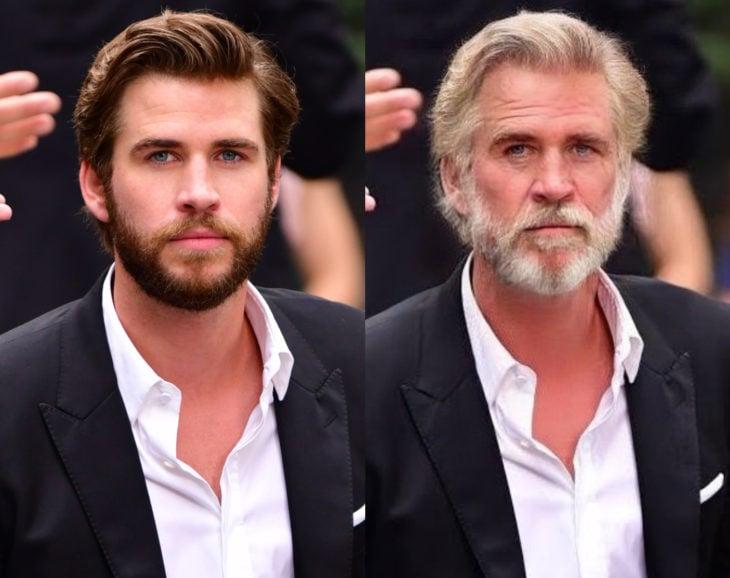 Famosos con filtro que hace viejo; Liam Hemsworth antes y después