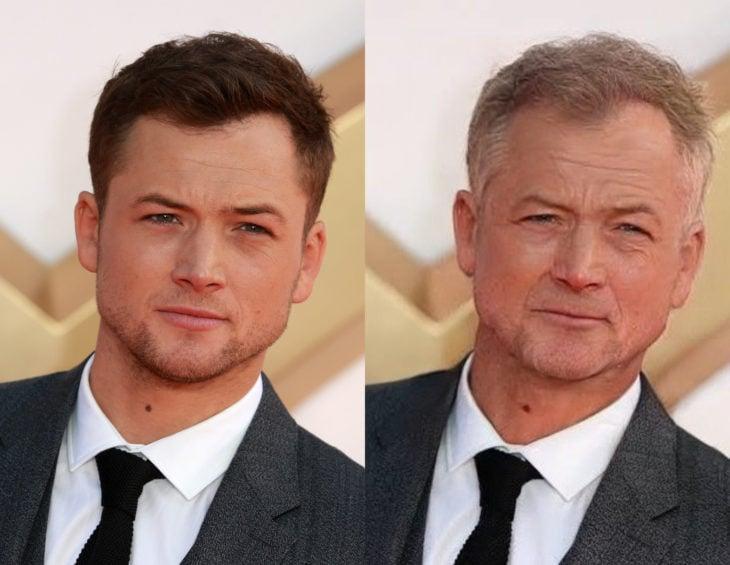Famosos con filtro que hace viejo; Taron Egerton antes y después