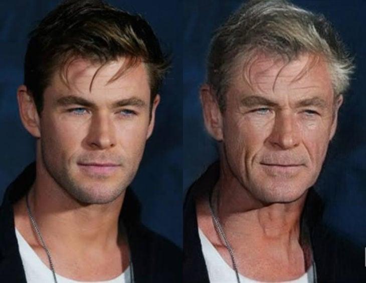 Famosos con filtro que hace viejo; Chris Hemsworth antes y después