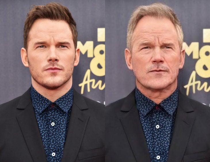 Famosos con filtro que hace viejo; Chris Pratt antes y después