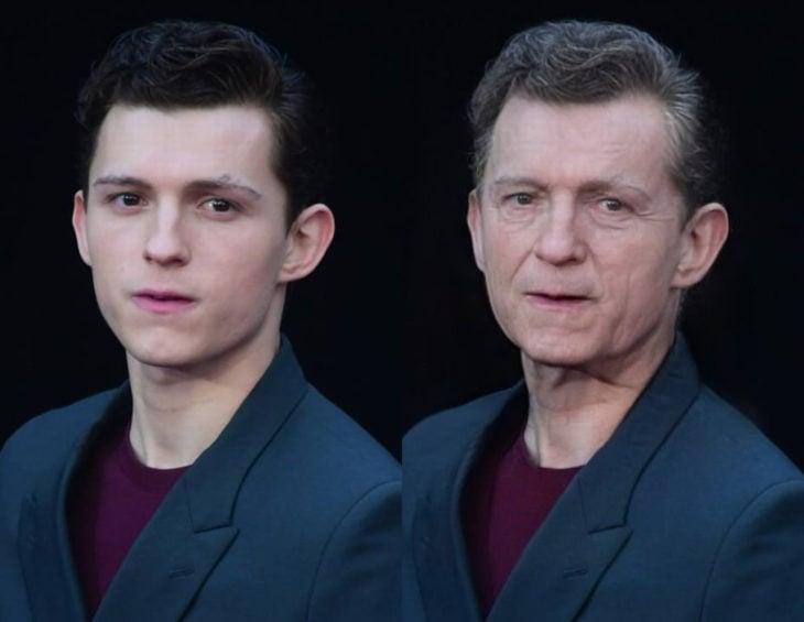 Famosos con filtro que hace viejo; Tom Holland antes y después