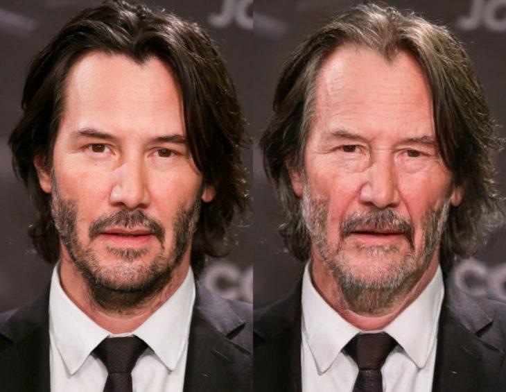 Famosos con filtro que hace viejo; Keanu Reeves antes y después
