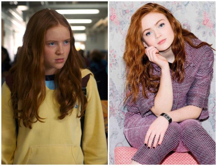 Sadie Sink molesta en lso pasillos de la escuela y sentada en una silla recargada en su mano