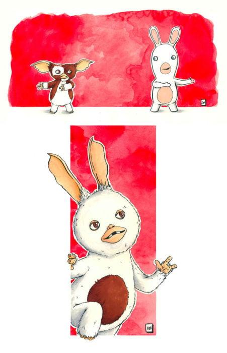 Dibujo animado ilustrado por Linda Bouderbala basado en Gremlins