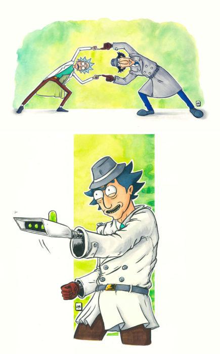 Dibujo animado ilustrado por Linda Bouderbala basado en Inspector Gadget
