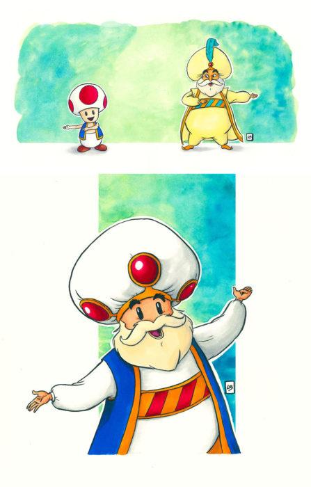 Dibujo animado ilustrado por Linda Bouderbala basado en Yoshi