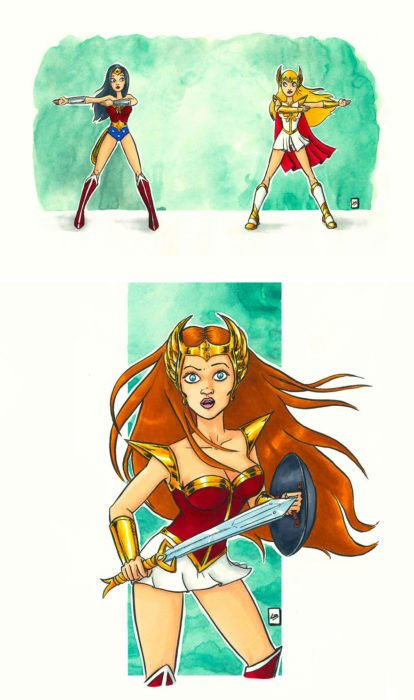 Dibujo animado ilustrado por Linda Bouderbala basado en She-Ra