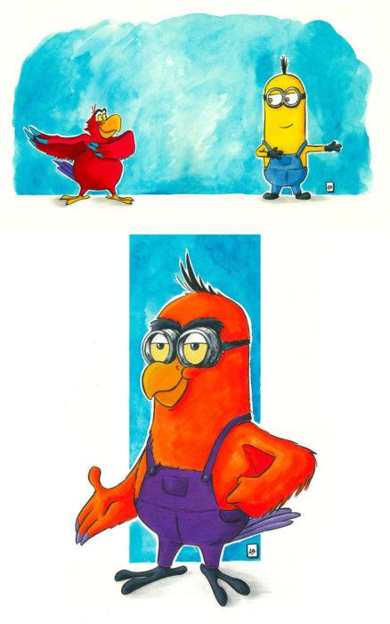 Dibujo animado ilustrado por Linda Bouderbala basado en Minions