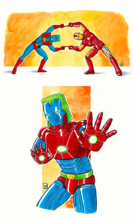 Dibujo animado ilustrado por Linda Bouderbala basado en Iron-Man