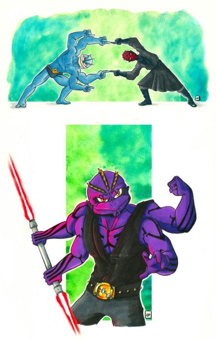 Dibujo animado ilustrado por Linda Bouderbala basado en Star Wars