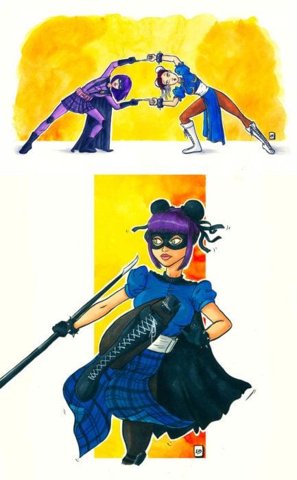 Dibujo animado ilustrado por Linda Bouderbala basado en Hith Girl