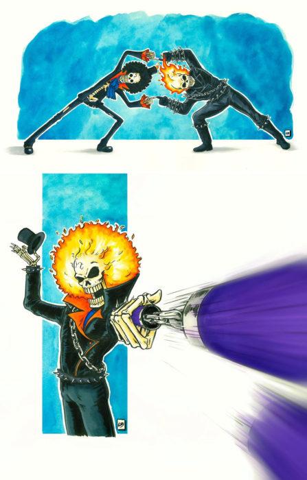 Dibujo animado ilustrado por Linda Bouderbala basado en Ghost Rider