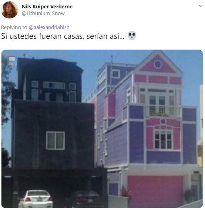Hermanas se vuelven virales por ser opuestas; chica con el cabello de arcoiris y la otra con cabello negro; casa rosa y casa negra