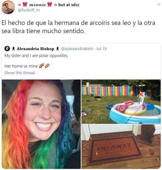 Hermanas se vuelven virales por ser opuestas; chica con el cabello de arcoiris y la otra con cabello negro