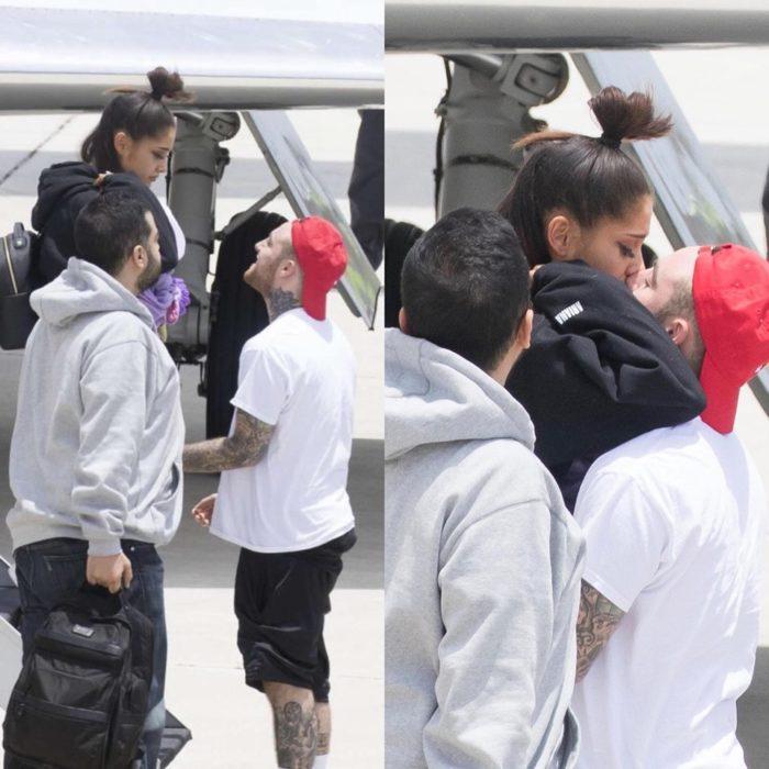Mac Miller recibiendo a Ariana grande en el aeropuerto luego del atentado en Manchester