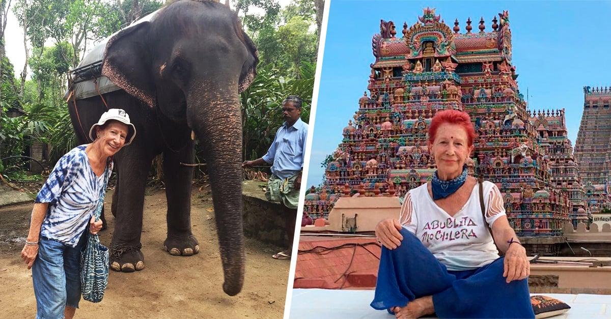 Kandy dejó todo para recorrer el mundo; es la abuela mochilera