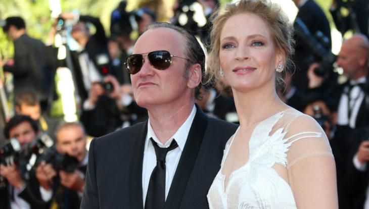 Quentin Tarantino y Uma Turman durante el festival de Cannes en 2018