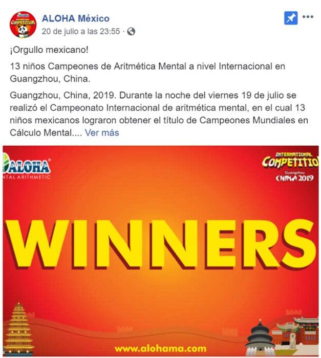 foto del post de Aloha México en donde reconoce a los campeones de su delegación en el concurso de Cálculo Mental en China