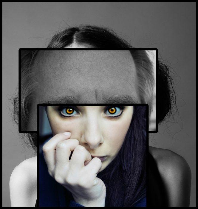composición de la cara de una mujer con otros elementos para dar a entender problemas mentales