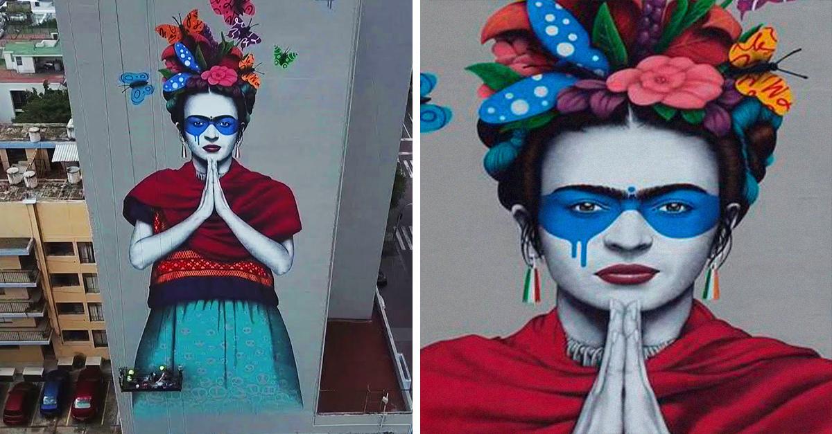 El artista urbano Fin Dac plasma a Frida Kahlo en macromural de Guadalajara