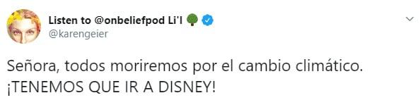 Comentarios en Twitter sobre una mujer que se quejó porque las personas sin hijos asisten a Disney