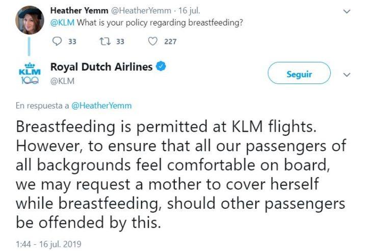publicación de Twitter en donde cuestionan a KLM sobre su política de lactancia materna y su respuesta