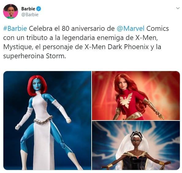 Comentario en Twitter sobre la celebración de Mattel a Marvel con una nueva muñeca