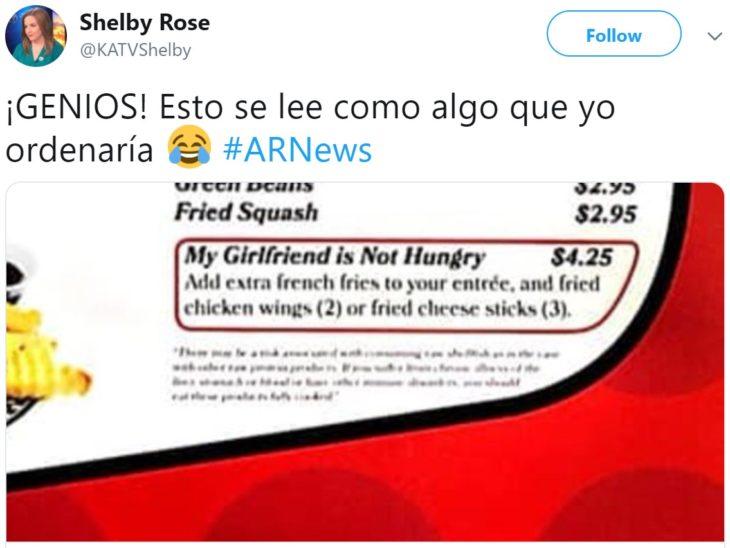 """Restaurante ofrece platillo que se llama """"mi novia no tiene hambre"""""""