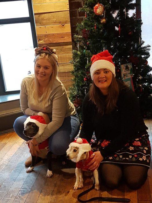 Mujeres abrazando perros bajo un pino navideño