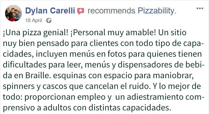 Comentarios en Twitter sobre el restaurante Pizzability