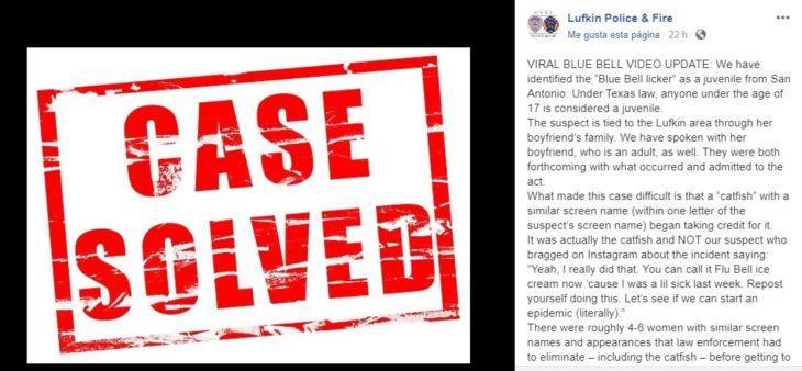 fotografía de la publicación de FB de la policía de Lufkin, Texas, en donde informan haber identificado a la autora del video en un supermercado lamiendo helado