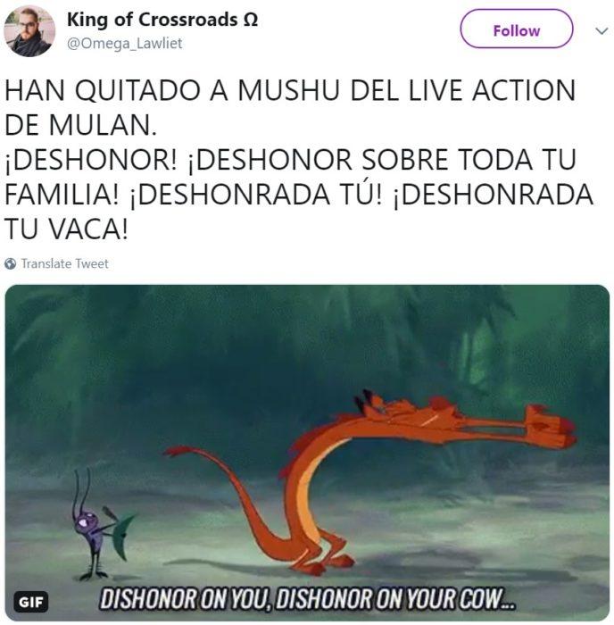 Rumores de que el dragón Mushu no aparecerá en la película live action de Mulan y será reemplazado por un ave fénix
