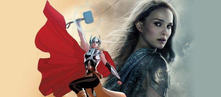 Natalie Portamn siendo comparada con el personaje femenino de Thor en comics Marvel