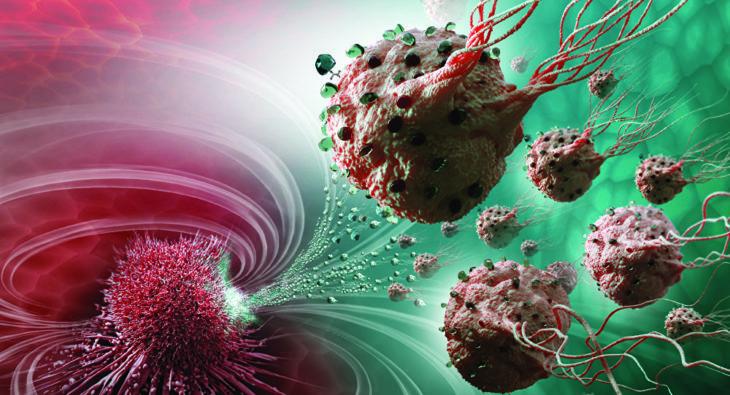 tumores cancerosos con células adheridas