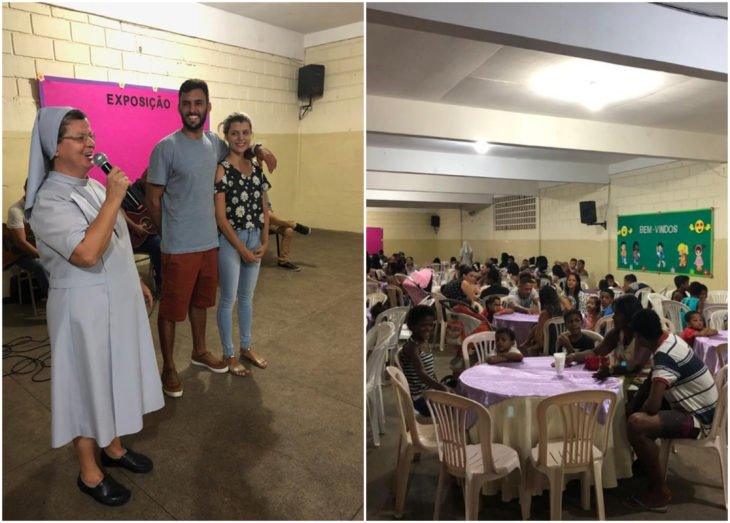 Ana Paula Meriguete y Victor Ribeiro dentro de la iglesia celebrando su boda en un comer con 160 personas