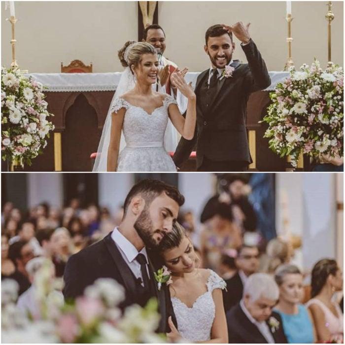 Ana Paula Meriguete y Victor Ribeiro dentro de la iglesia celebrando su boda antes de comer con 160 personas