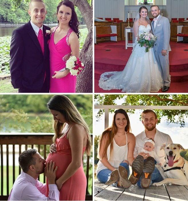 Pareja de novios durante su graduación y en su boda