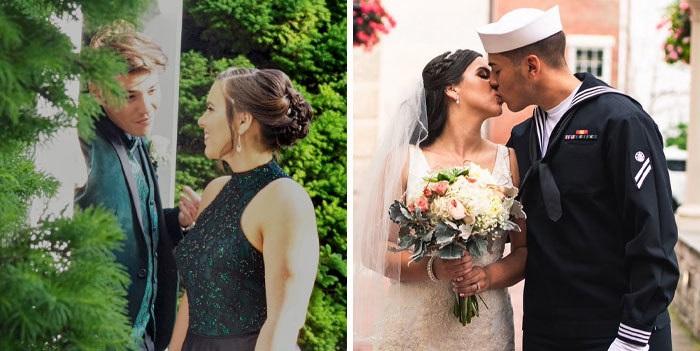 Hombre con traje de marinero besando a una chica vestida de novia
