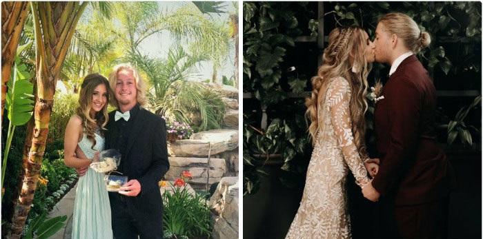 Pareja de novios tomando fotos de sus momentos más importante en graduación y durante su boda