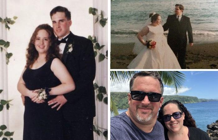 Pareja de casados mostrando su relación con su novia a través de los años