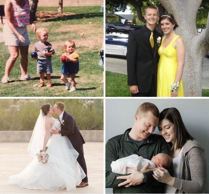 Pareja de enamorados mostranso su ciclo de vida al ser novios, esposos y padres