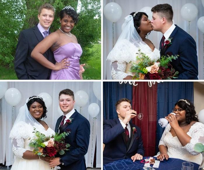 Pareja de novios abrazados en su graduación y brindando en su fiesta de boda