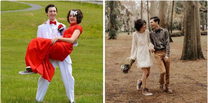 Hombre cargando a su novia con vestido rojo durante su fiesta de graduación