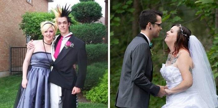 Pareja de novios con estilo punk abrazados para la foto de su graduación