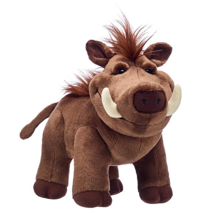 Jabalí llamado Pumba de peluche creada por Build-A-Bear. Colección de peluches de El Rey León