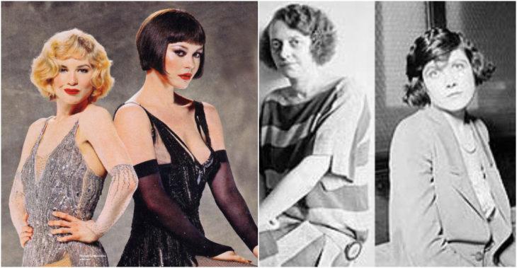 Roxie y Velma personajes ficticios inspirados en las criminales Belva Gaertner y Beulah Annan de los años veinte